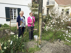 Thea & Marilyn in garden Chambourcy (David_and_Marilyn_King) Tags: garden feeders chambourcy