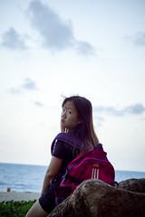 Teddy (bdrc) Tags: portrait beach girl lens seaside teddy minolta zoom candid sony wave shore tele casual 75300mm teluk chempedak f4556 a6000 asdgraphy