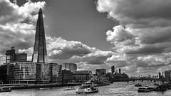 urban clouds are prone to tickling ;) (lunaryuna (off to Iceland for 2 weeks)) Tags: uk bridge england sky bw panorama london tower monochrome skyline architecture buildings boats blackwhite cityscape hmsbelfast metropolis lunaryuna riverthames cloudscape theshard urbanconstructs lightmood
