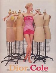 Dior for Cole of California 1956 (moogirl2) Tags: retro vogue 50s 1956 dior supermodels vintageads vintagedior vintagefashions vintageswimwear jeanpatchett vintagevogue 50sfashions coleforcalifornia