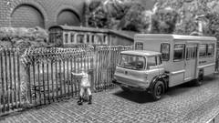 Old Railway Fenced Off. (ManOfYorkshire) Tags: bus scale work fence bedford model gate workmen railway trains lorry crew britishrail tk 176 oogauge oxforddiecast