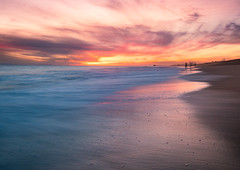 Searching (meeyak) Tags: ocean longexposure nightphotography sunset people beach water night clouds outdoors spring sand waves cloudy dusk smooth olympus newportbeach socal slowshutter southerncalifornia orangecounty oc omd lowepro ndfilter meeyak