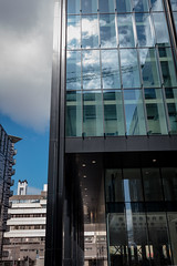 Quarter Mile Development-5 (Philip Gillespie) Tags: street city blue windows sky sun white reflection tower glass up skyline architecture clouds contrast work buildings outside photography scotland office spring edinburgh cityscape angle outdoor wide meadows april series block leading 2016 sequent