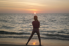 Sunset Stance (tylerkingphotography) Tags: ocean travel sunset sky beach water girl silhouette pose lens thailand photography nikon southeastasia photographer outdoor kingdom explore backpacking thai kit 1855mm traveling phuket amateur lagunabeach andamansea bangtaobeach thalang d3100