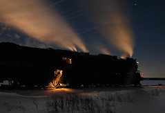 Cold Nights Warm Steam (GLC 392) Tags: road railroad winter horse snow cold saint st mi train photo branch power lima michigan great central lakes engine railway charles super steam kind pm berkshire pere marquette freight glc charter berk 1225 simmering 284 owosso