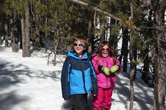 Olsen and Jovie in the narrow trees 2 (Aggiewelshes) Tags: travel winter snow april snowshoeing wyoming olsen jacksonhole colterbay jovie grandtetonnationalpark 2016 gtnp