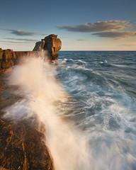 Pulpit Rock (peterspencer49) Tags: uk sunset coast waves dorset coastline splash coastalpath pulpitrock jurassiccoast dorsetcoast cliffwalks peterspencer peterspencer49