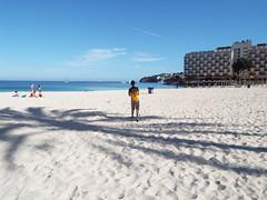 In the shade of a palm tree. (Paranoid from suffolk) Tags: shadow vacation sun holiday beach spain sand josh shade mallorca majorca magaluf palmanova 2016 balearics magalluf