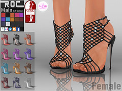 ::ROC:: Alina Dress Heel (ROC FASHION) Tags: red woman white black sexy girl up leather female back high shoes punk pumps toe dress mesh lace platform footwear sling heel peep stiletto ankle weave hollow jewel rigged tmp slink fatpack rosceeslsecondliferocpatpack