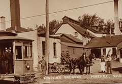 Epstein's Brewery with Wagon and Streetcar
