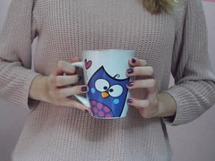 4/366  Hot chocolate and owl mug  (JessicaBelotto) Tags: hot sweater day chocolate honey owl mug coruja projeto caneca quente fotografico 366 suter 366daysofhoney