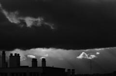 l'avion dans les rayons (laetitiablabla) Tags: sunset sky cloud white black france monochrome soleil poetry noir glory coucher ile lovers ciel val suburb nuage blanc vues banlieue marne