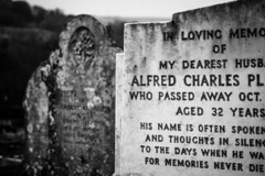 in loving memo. (zvatsou) Tags: england bw loss grave graveyard death sussex countryside moody mourning spirit headstone gothic funeral memory mementomori melancholy sorrow lewes grief eulogy afterlife