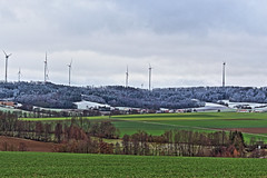 Winter's Border (rexbolton) Tags: winter snow forest landscape spring cloudy hdr windturbine