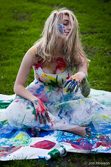 Sat in a mess (Jon W. Howson) Tags: park uk blue red summer portrait england woman green girl beauty yellow lady female photography woods jon paint afternoon outdoor south sheffield yorkshire skirt blonde colourful tulle splatter tutu southyorkshire tulleskirt portraitphotography howson eccelsall jowaho jonhowson jonhowsonphotography