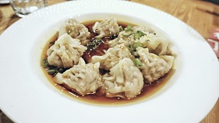 Hot in Herre: pork-filled wontons with chili oil and scallions
