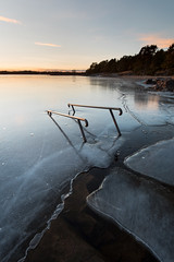 Stuck - Skutberget (- David Olsson -) Tags: winter sunset lake seascape cold ice water stairs landscape frozen nikon sundown sweden outdoor january karlstad railing fx grad vr vänern januari d800 värmland 1635 2016 1635mm gnd skutberget leefilters davidolsson 06hard 1635vr