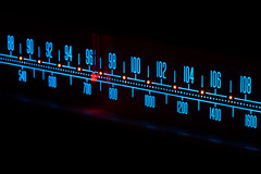 Neon Marantz (crgshpprd) Tags: blue red abstract macro radio canon vintage dark am long exposure neon technology dof darkness 100mm retro l 28 amplifier fm receiver isolated marantz f32 20sec 2238b