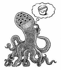 Wily predator (Don Moyer) Tags: moleskine ink notebook drawing cupcake octopus moyer brushpen donmoyer