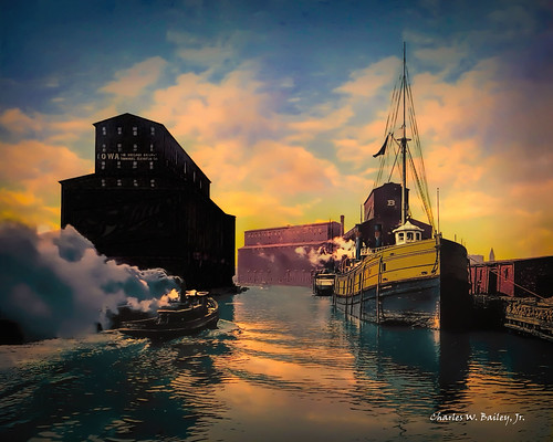 Digital Pastel Drawing of Grain Elevators on the Chicago River by Charles W. Bailey, Jr.