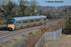 22037 passes Stacumny Bridge, 15/2/16 (hurricanemk1c) Tags: irish train rail railway trains railways irishrail rok rotem countykildare 2016 icr iarnród 22000 22037 éireann iarnródéireann premierclass dublintocork 1320heustonportlaoise 5pce stacummybridge