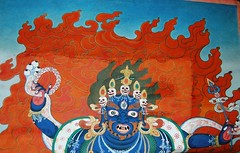 Mahakala Thangka Painting. (TREASURES OF WISDOM) Tags: nepal whatisthis art love look mystery wow wonderful religious temple nice nikon worship view spirit quality yes buddhist magic faith prayer like buddhism visit tibet collection offering unknown gods ritual longevity nepalese unusual vibes spirituality wisdom spiritual devotee hindu artifact healing brilliant puja deity shamanic mystic votive himalayan pagan artefact mahakala unseen namaste asianart mythical tanka tantric ceremonial tribalart ethnographic intresting lordbuddha godofwisdom ommanipadmihum chinesesilkroad buddhasandbodhisattvas