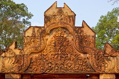 Pink sandstone carvings at Banteay Srei near Siem Reap, Cambodia