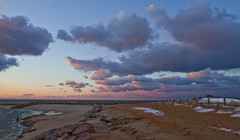 Pink Glow on a Winter's Eve (brucetopher) Tags: pink winter sunset sun cold beach water clouds river evening twilight beige stream glow wind cloudy bue windy breeze breezy afterglow