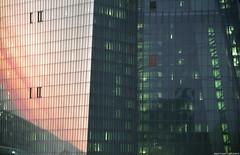 European Central Bank sundown reflection (frescographic) Tags: city sunset skyline skyscraper 35mm germany sundown frankfurt goldenhour ecb 135mm ezb steinheil europeancentralbank europäischezentralbank negativefilm goldenestunde steinheilmünchen telequinar