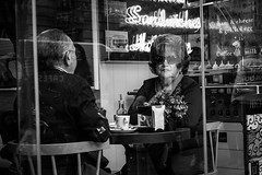 Madrid I Spain (Javier Zapatero) Tags: madrid street blackandwhite love caf sign bar photography blackwhite couple neon fuji amor streetphotography marriage streetphoto matrimonio peinado urbanphotography sandwitches fotografiacallejera xt1 morningcoffe zapaphoto spainpareja