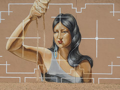 Santa Fe (grace.aries) Tags: woman usa newmexico santafe west art museum america graffiti native contemporary pueblo sands oldtown murales nikoncoolpixp520