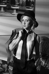 Maria Santonja 1 (drno_manchuria (simonsaw)) Tags: wearing hat fashion model women tie tshirt blogger knot modelo corbata sombrero gravata necktie tomboy nudo menswear tirantes camisete