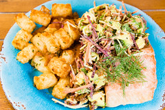 Salmon with cheesy potato gems and coleslaw (garydlum) Tags: dill avocado nuts salmon potato canberra parsley chives coleslaw