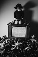static screen (savana ogburn) Tags: blackandwhite girl tv moody hairflip staticscreen