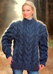 BLUISH GRAY Hand Knitted Mohair Sweater Fluffy Cable Knit Pullover by SUPERTANYA (Mytwist) Tags: woman wool fashion by lady female fetish cozy sweater fisherman hand fuzzy fuck gray knit fluffy craft style cable fantasy mohair knitted pullover slave laine bluish wolle sweatergirl supertanya