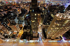Chelsea Manhattan (Tony Shi Photos) Tags: city nyc newyorkcity roof newyork rooftop architecture chelsea cityscape manhattan lookingdown 6thave builidings blurredmotion highangleview rooftopping chelsealandmark trafficinmotion movingactivity