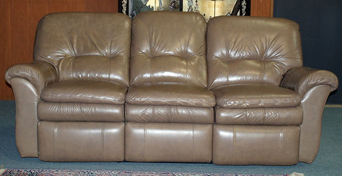 Tan Leather Sofa with Recliner Ends - $330.00 (Sold May 22, 2015)