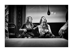 Girls (Jan Dobrovsky) Tags: street girls people bw roma contrast cigarette grain corso document fujifilm