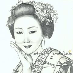 Maiko Kyouka (pchan22) Tags: pencil kyoto dessin maiko geiko geisha crayon esquisse kyoka tsurui kyouka