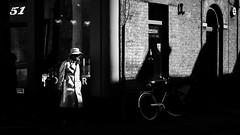 Street 1/3 (Sir Cam) Tags: cambridge light blackandwhite bw man hat shadows streetphotography 51 bnw fitzbillies sircam camdiary