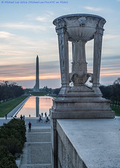 Lincoln Memorial View (DSC02634) (Michael.Lee.Pics.NYC) Tags: reflection urn architecture sunrise washingtondc nikon cityscape sony uscapitol lincolnmemorial washingtonmonument reflectingpool wwiimemorial nikkor50mm18d a7rm2