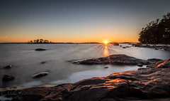 Last rays of light (Mika Laitinen) Tags: ocean longexposure sky sun seascape tree nature water rock suomi finland landscape twilight helsinki cost balticsea shore scandinavia rayoflight vuosaari uusimaa kallvik tokina1116mm canon7dmarkii