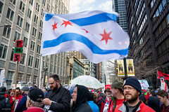 Chicago Resolve (Andy Marfia) Tags: chicago march iso200 loop candid flag rally crowd protest strike teachers waving f8 ctu thompsoncenter randolphst 1160sec d7100 1685mm chicagoteachersunion