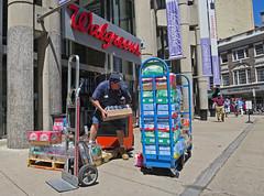 BostonLotsofDrinks (fotosqrrl) Tags: urban boston lift massachusetts streetphotography case drinks delivery walgreens washingtonstreet handtruck schoolstreet