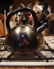 Kitchen Kettle 121/366 (Jo-Warming Up To The 80's :)) Tags: white black utensils silver counter gas kettle stove ktichen selfie day121366 captureyourself 366the2016edition 3662016 30apr16