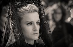 Mirada devota (vivas12) Tags: portrait woman blancoynegro monochrome face sepia monocromo mujer nikon retrato bn zaragoza mirada semanasanta manola tradicin virado mantilla procesin religin peineta devocin cofrada d3100