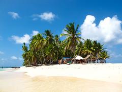 San Blas (GatitaMala02) Tags: travel blue vacation sky white holiday water america island sand san paradise peace getaway south clear palmtrees tropic panama blas secluded