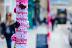 Yarn bombing in Bath, Somerset, UK (Ian Redding) Tags: uk pink england people colour wool lady fun bath knitting joy group somerset lampost covered harmless knitted cheerful posts guerilla organised milsomstreet yarnbombing