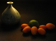 Celedon and Fruit (Rand Luv'n Life) Tags: life lighting orange black green composition still background chinese indoor vase lime diffused kumquats odc subdued celedon