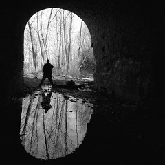 (.tom troutman.) Tags: reflection abandoned 120 6x6 film analog train mediumformat blackwhite nj tunnel delta bronica 100 ilford sqai